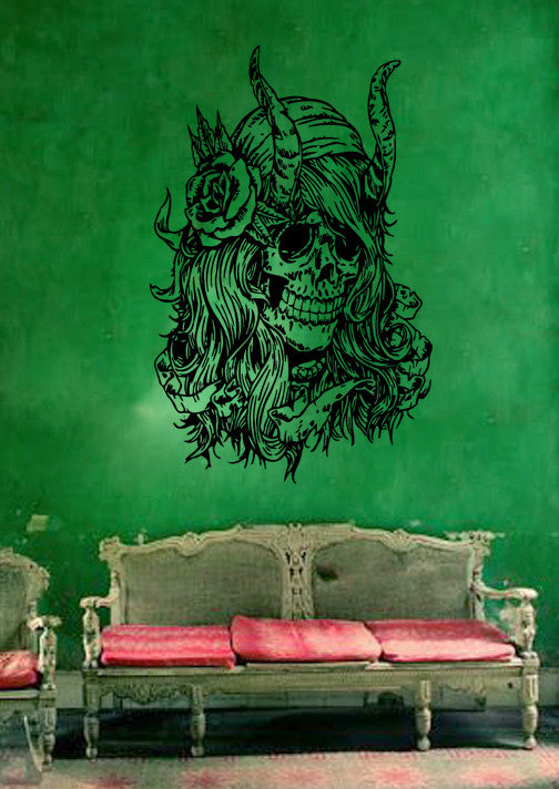 ik254 Wall Decal Sticker Decor Women's skull horns and a flower interior