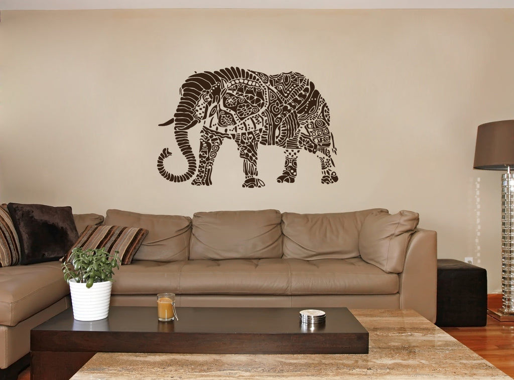 ik256 Wall Decal Sticker Decor Indian elephant floral ornament animal India