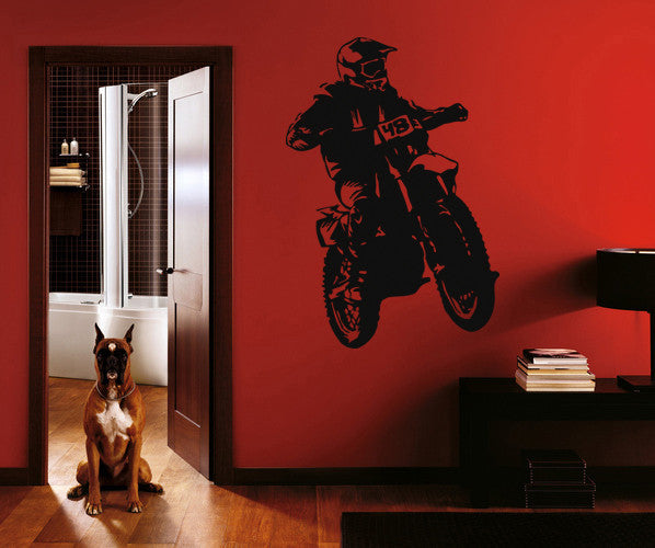 ik257 Wall Decal Sticker Decor motocross moto bike racer race speed adrenaline