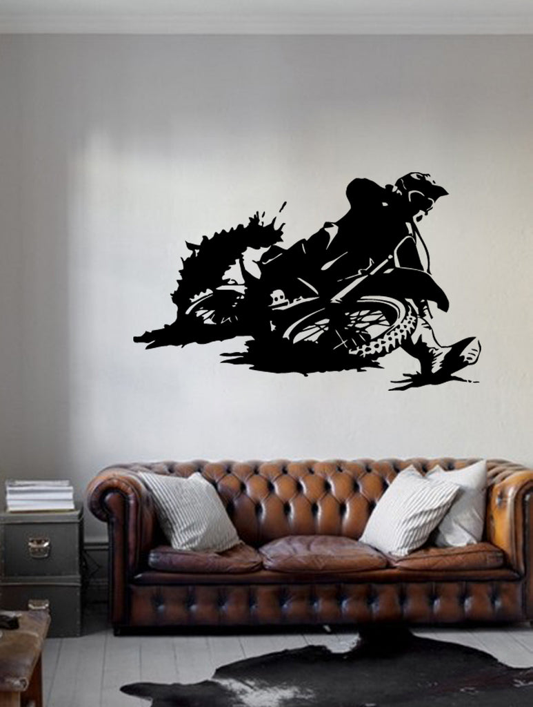 ik259 Wall Decal Sticker Decor motocross moto bike racer race speed adrenaline