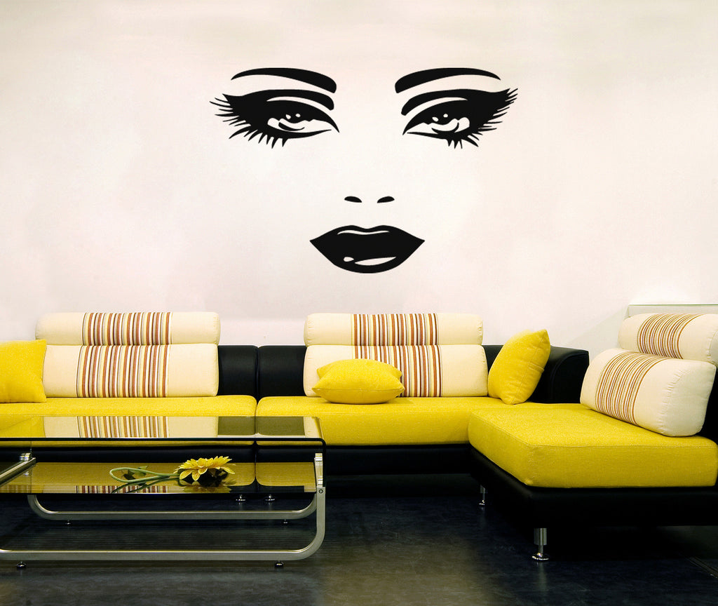 ik262 Wall Decal Sticker Decor beautiful girl's face an interior Bed