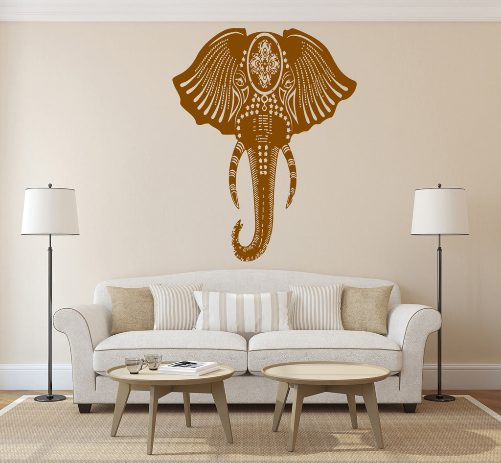 ik268 Wall Decal Sticker Decor Indian elephant floral ornament animal India