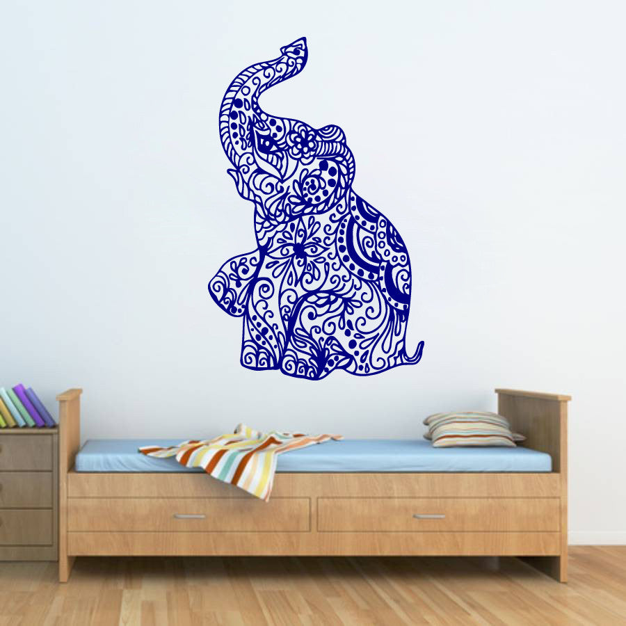 ik270 Wall Decal Sticker Decor little Indian elephant ornament India pet animal