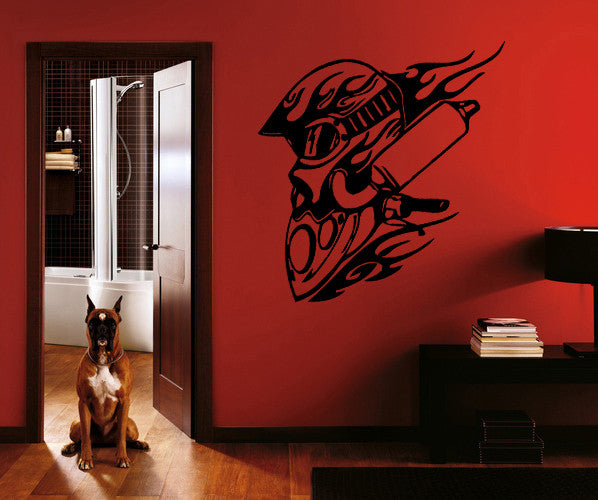 ik277 Wall Decal Sticker Decor moto helmet motorcycle race speed interior
