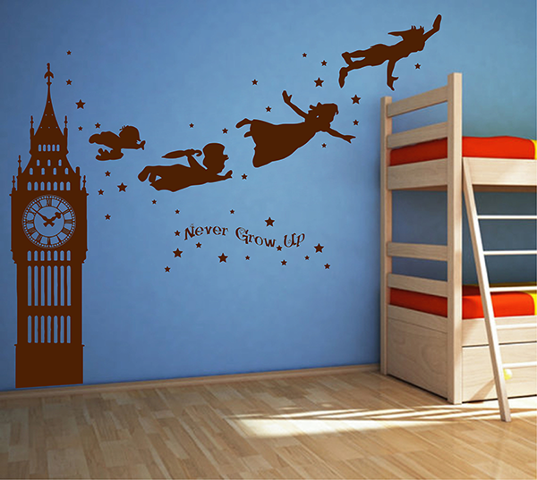 ik2803 Wall Decal Sticker Peter Pan fairy tale of Big Ben room children\'s  bedroom