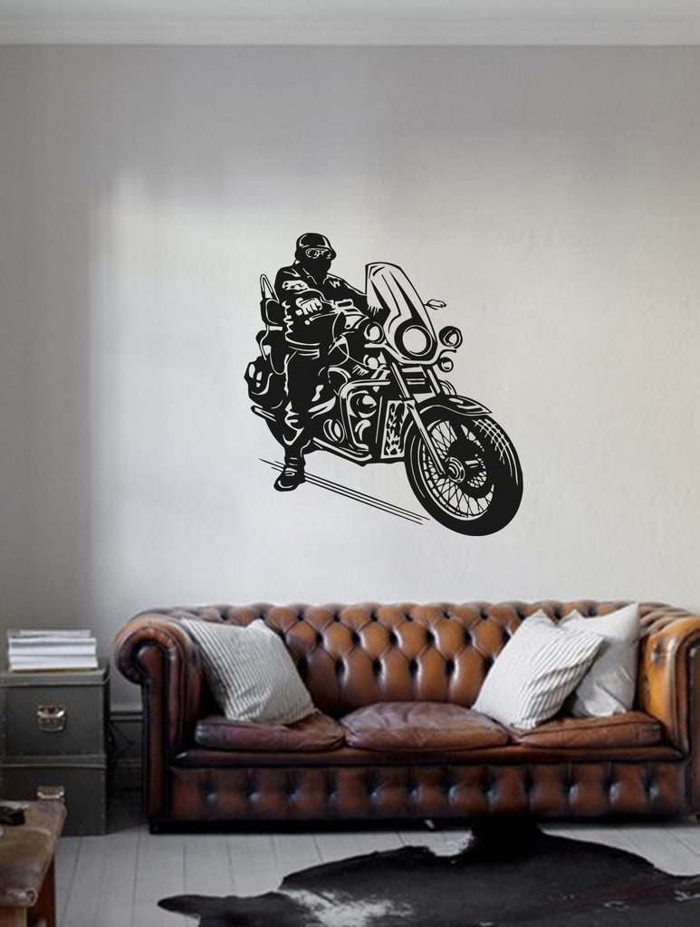 ik280 Wall Decal Sticker Decor motorcycle speed man motorcycle to interior