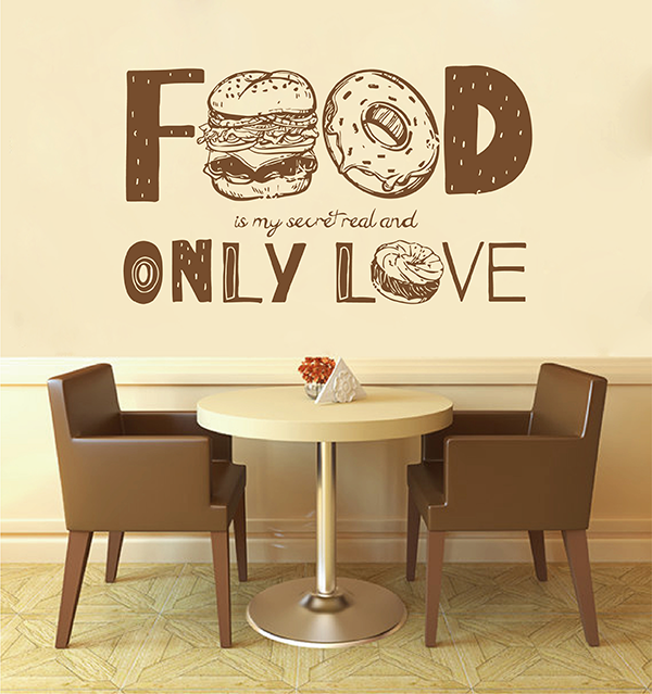 ik2826 wall decal sticker only love fast food restaurant snack