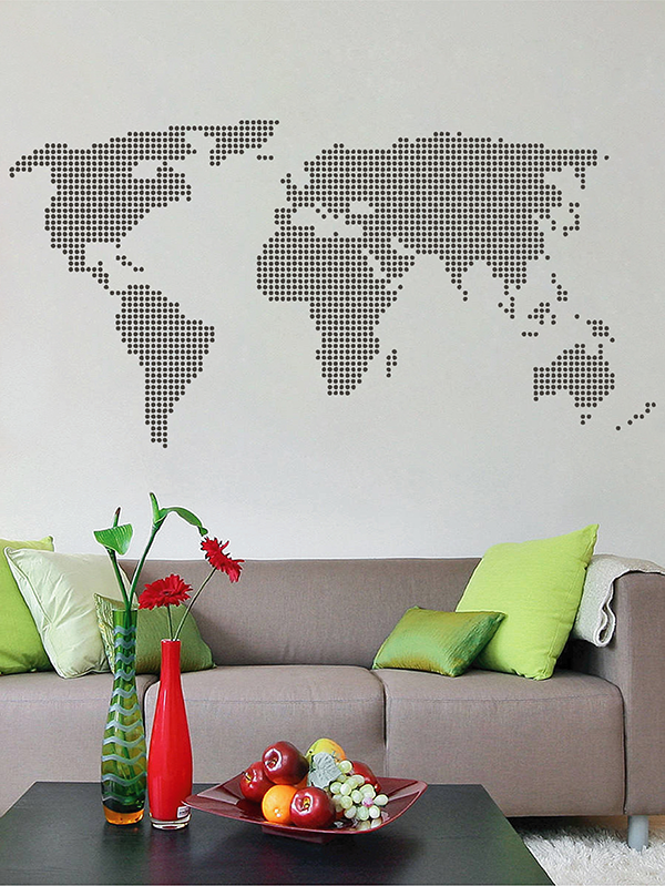 ik2874 Wall Decal Sticker world map abstract living room bedroom office