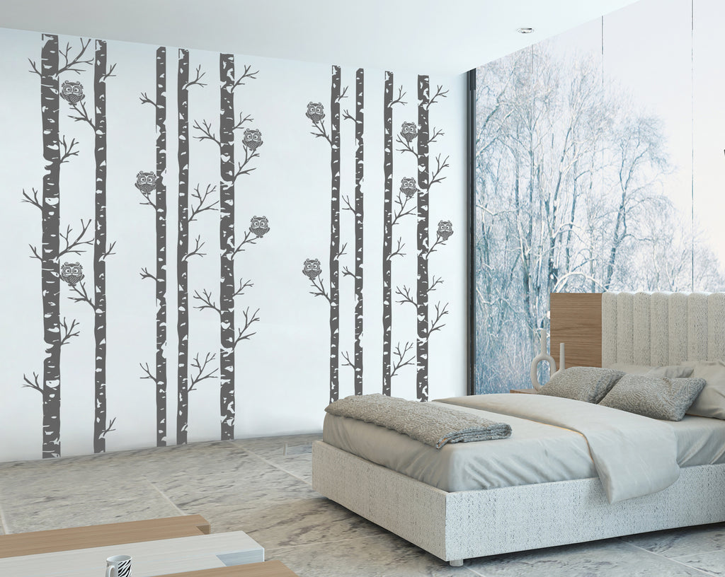 ik314 Wall Decal Sticker Decor forest owls owls birch tree bird bedroom (172)