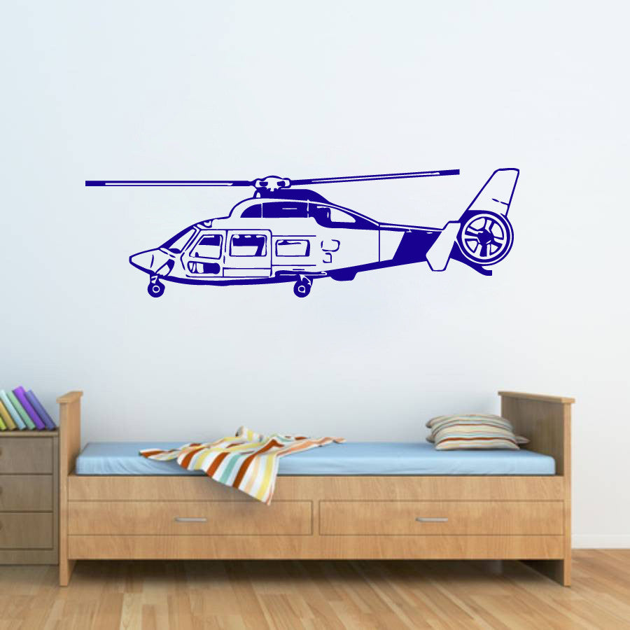ik322 Wall Decal Sticker Decor sky helicopter military kids