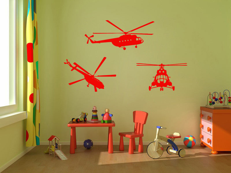ik323 Wall Decal Sticker Decor helicopter sky lounge kids bedroom