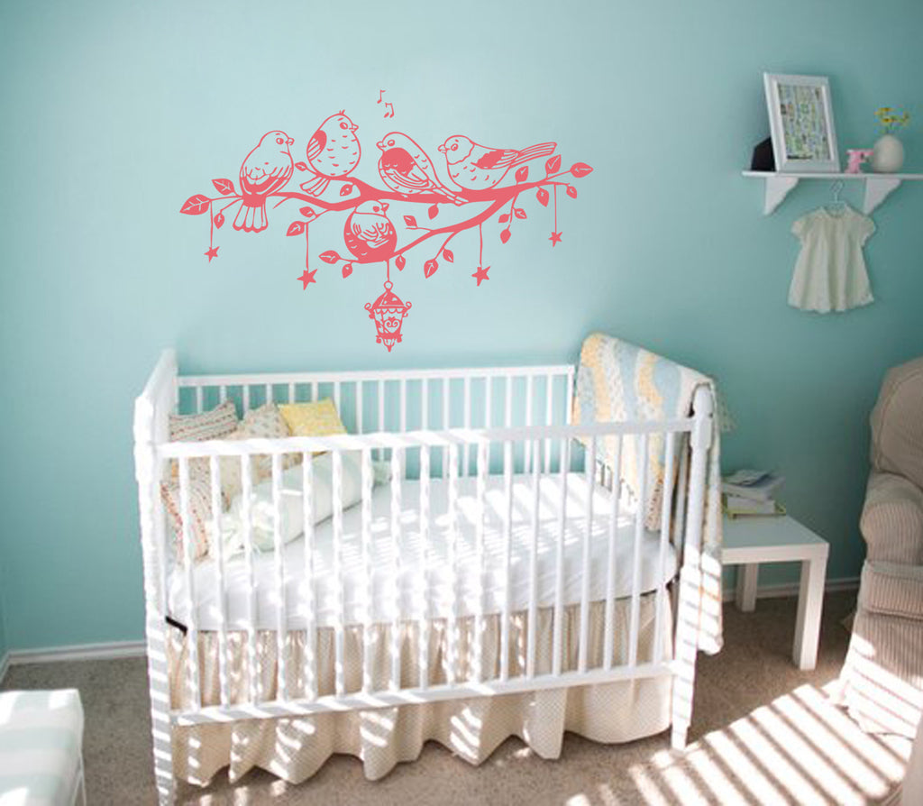 ik325 Wall Decal Sticker Decor branch birds sing kids