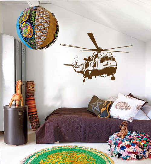 ik326 Wall Decal Sticker Decor helicopter sky air transport kids bedroom