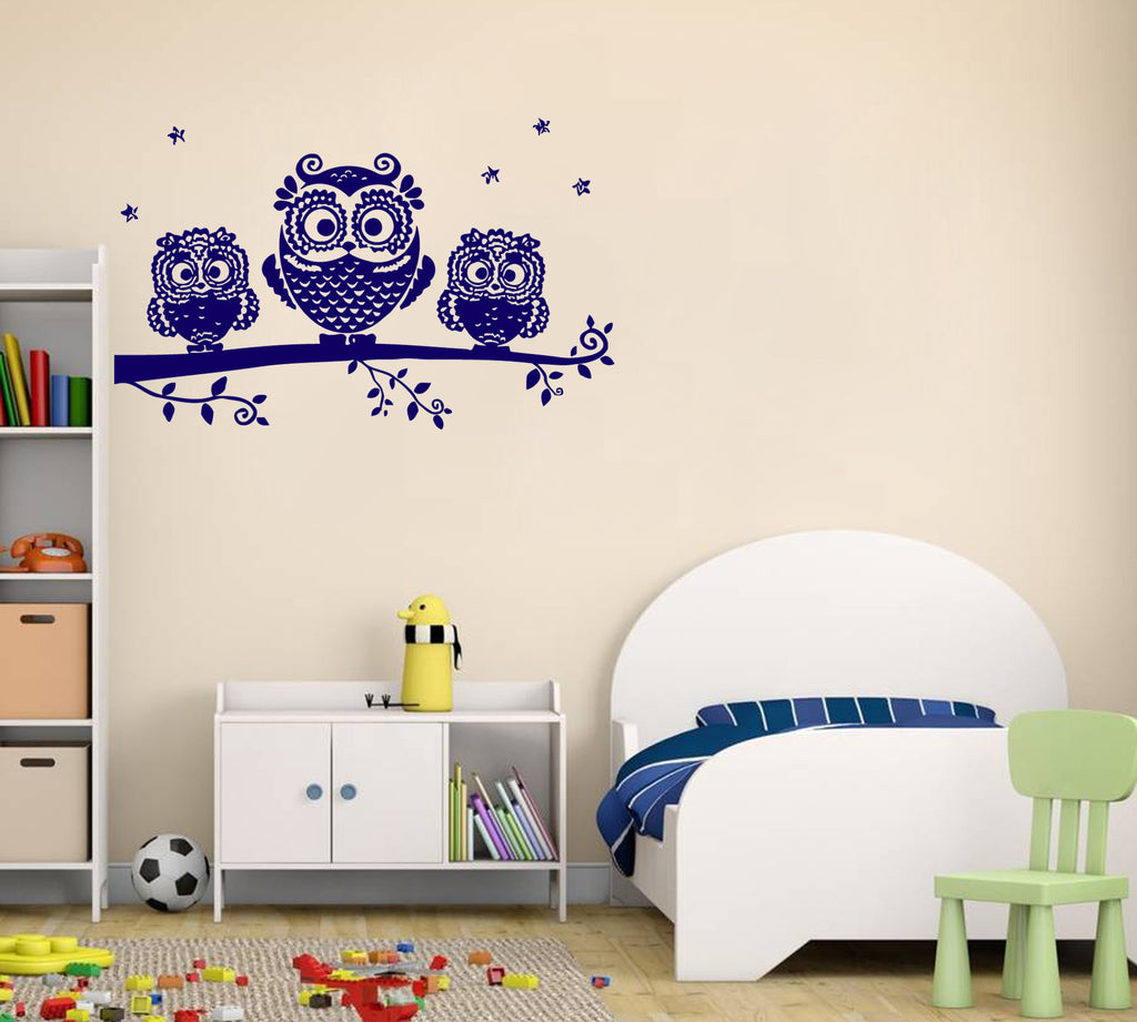 ik337 Wall Decal Sticker Decor owl tree twig kids bedroom