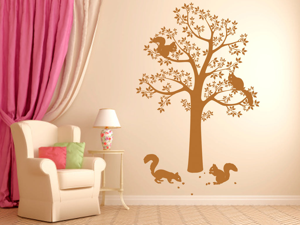 ik345 Wall Decal Sticker Decor tree squirrels nuts forest animals bedroom kids