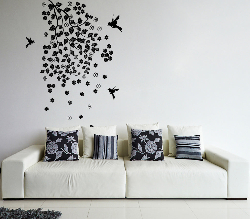 ik353 Wall Decal Sticker blossom tree branch bird hummingbird flowers living