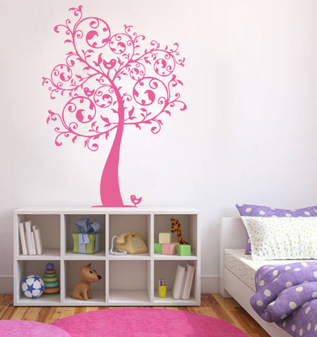 ik373 Wall Decal Sticker tree monogram bird baby kids bedroom