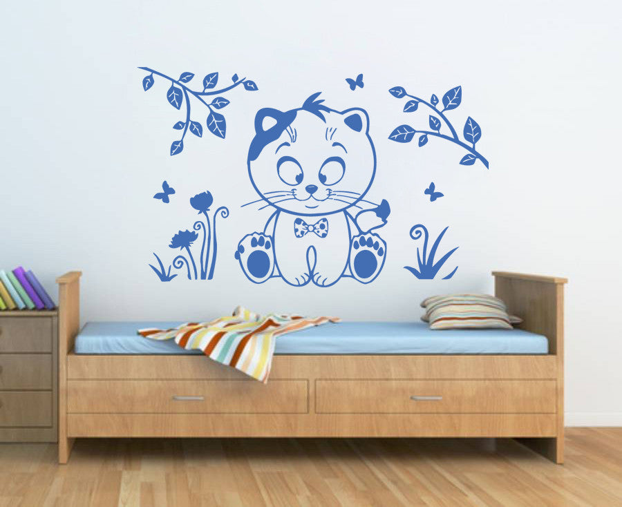ik376 Wall Decal Sticker cute kitten animal bedroom kids