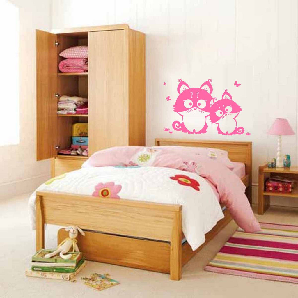 ik377 Wall Decal Sticker cute kitty cat living animals bedroom kids