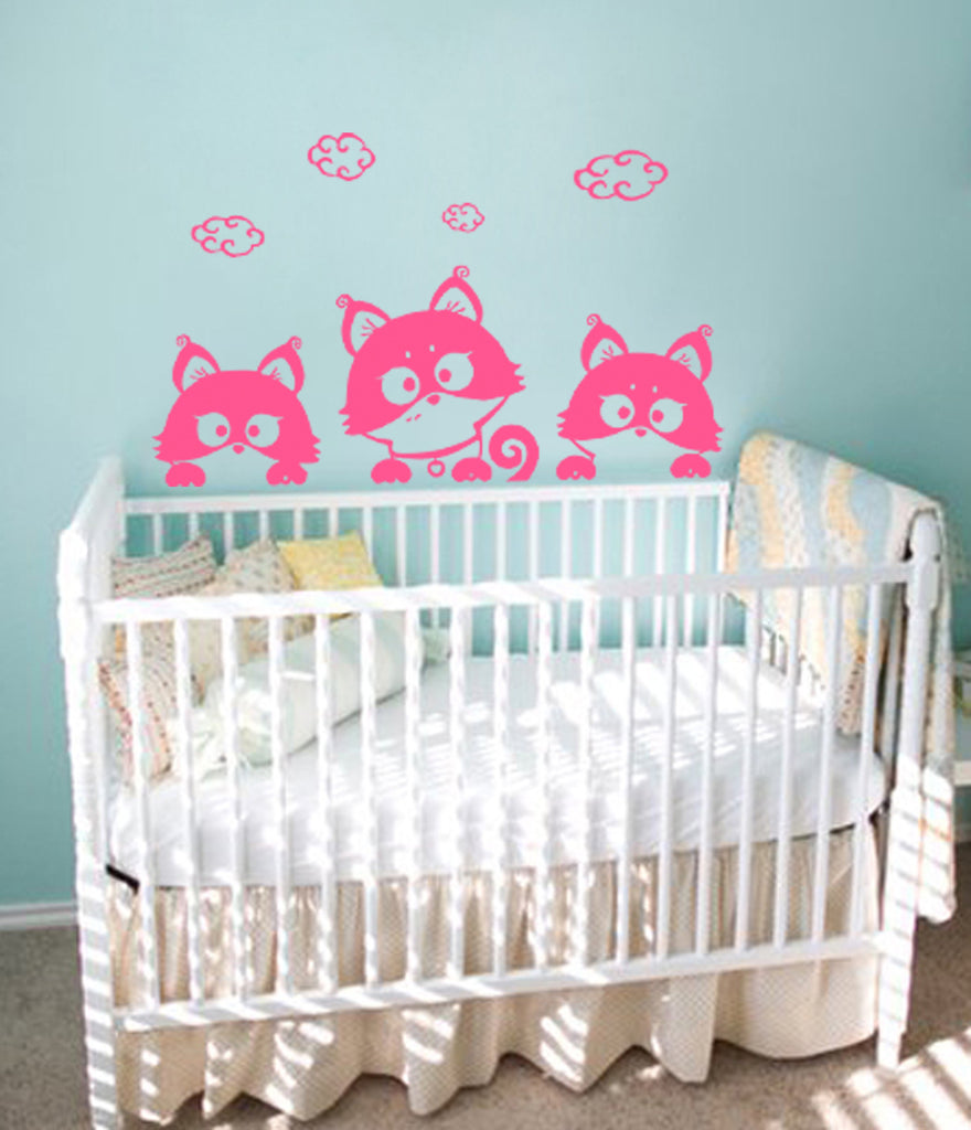 ik380 Wall Decal Sticker cute kitten looks curious animal cat living kids