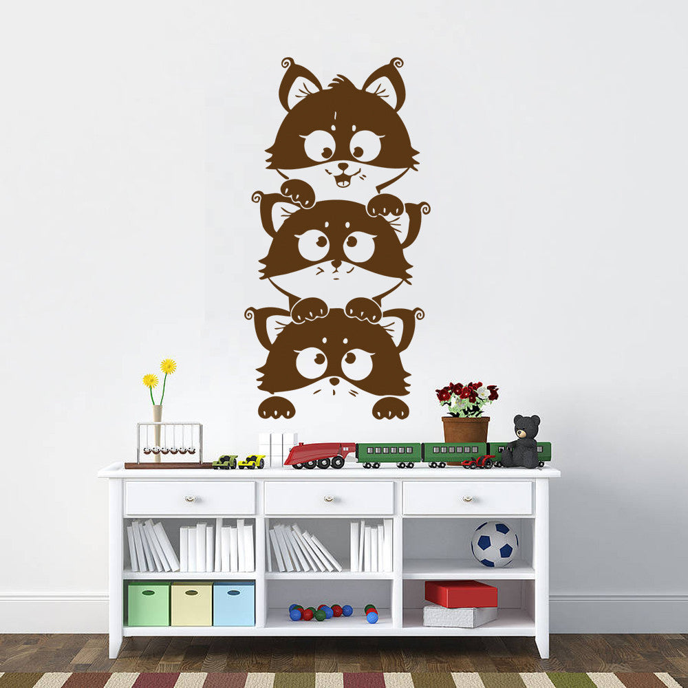 ik381 Wall Decal Sticker cute kittens peeking curious animal cat living kids