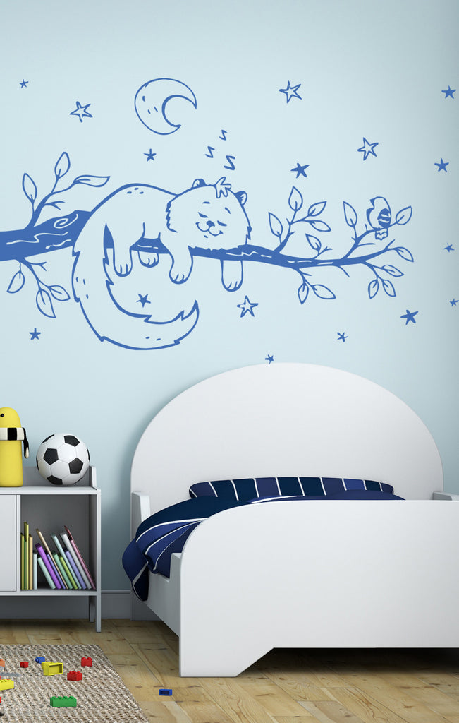 ik396 Wall Decal Sticker sleeping cat branch animal tree night kids bedroom