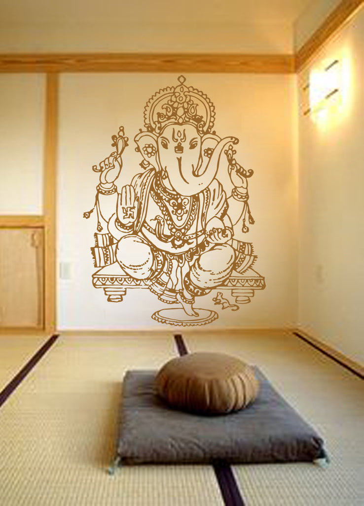 ik483 Wall Decal Sticker Ganesha Om Elephant Hindu welfare meditation Yoga
