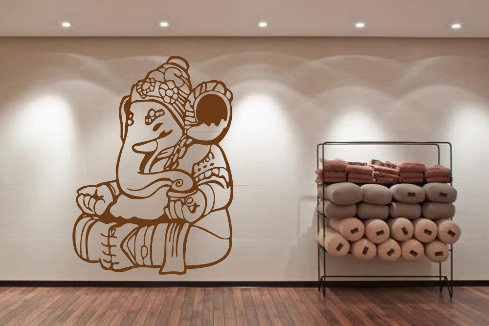 ik484 Wall Decal Sticker Ganesha Om Elephant Hindu welfare meditation Yoga