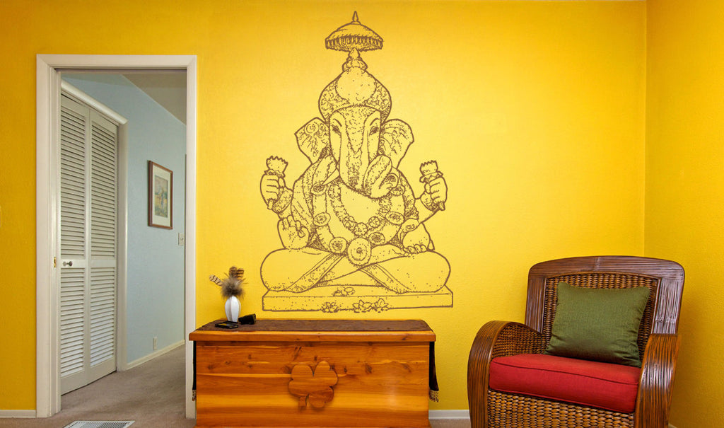 ik486 Wall Decal Sticker Ganesha Om Elephant Hindu welfare meditation Yoga