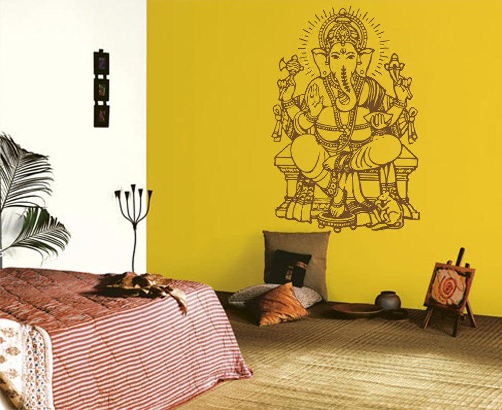 ik488 Wall Decal Sticker Ganesha Om Elephant Hindu welfare meditation Yoga