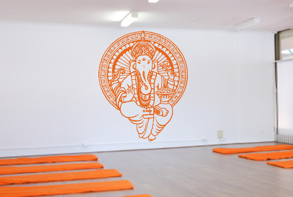 ik496 Wall Decal Sticker Ganesha Om Elephant Hindu welfare meditation Yoga