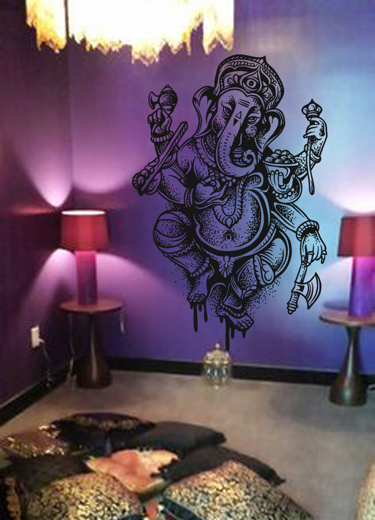 ik498 Wall Decal Sticker Ganesha Om Elephant Hindu welfare meditation Yoga