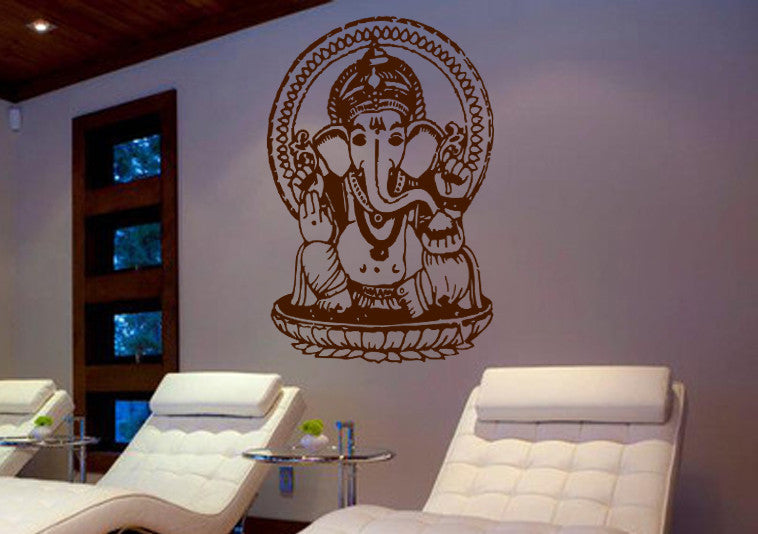 ik499 Wall Decal Sticker Ganesha Om Elephant Hindu welfare meditation Yoga
