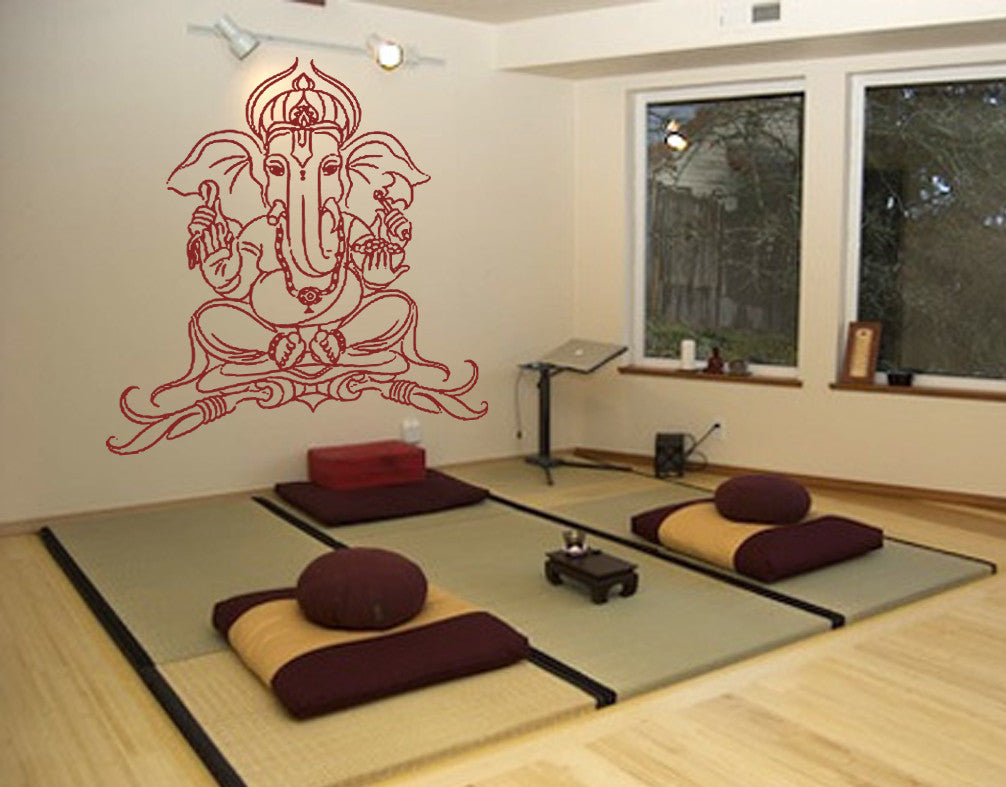ik502 Wall Decal Sticker Ganesha Om Elephant Hindu welfare meditation Yoga