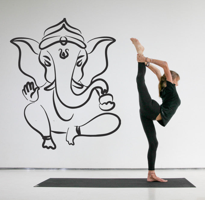 ik506 Wall Decal Sticker Ganesha Om Elephant Hindu welfare meditation Yoga