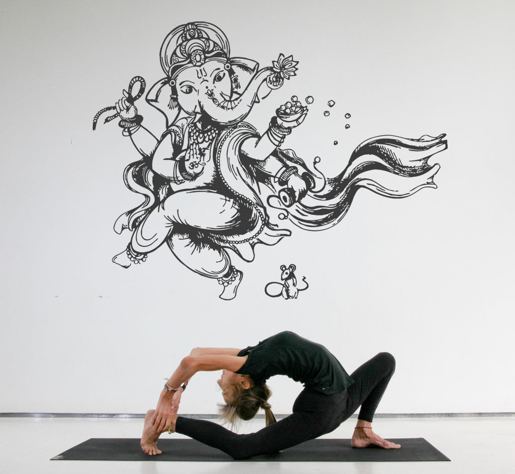 ik514 Wall Decal Sticker Art Indian god Ganesha Hindu welfare meditation Yoga