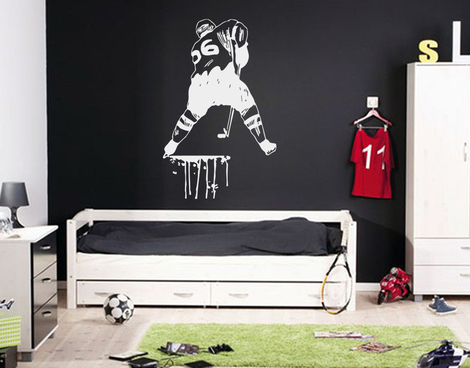 ik558 Wall Decal Sticker hockey stick puck rink sport team game kids bedroom