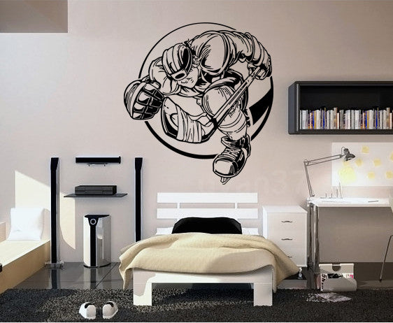 ik569 Wall Decal Sticker hockey stick puck rink sport team game kids bedroom