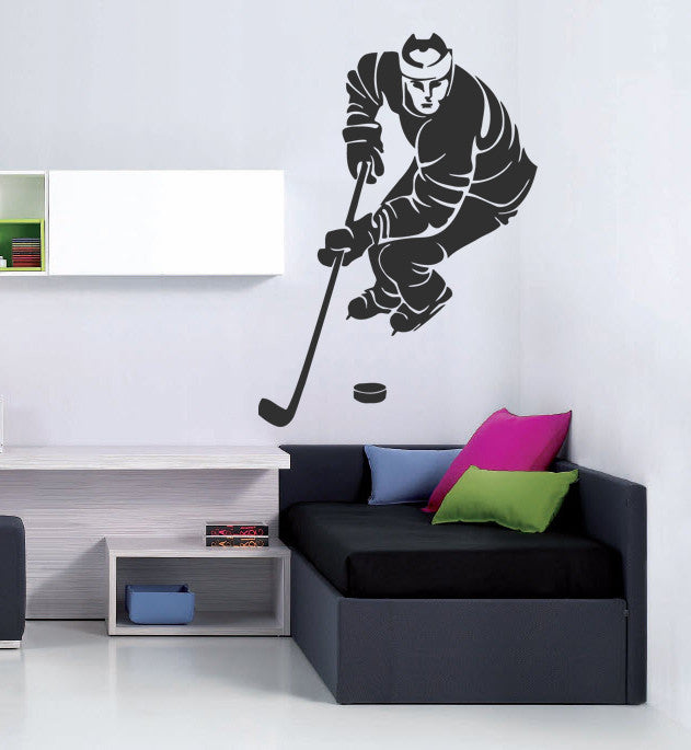ik572 Wall Decal Sticker hockey stick puck rink sport team game kids bedroom