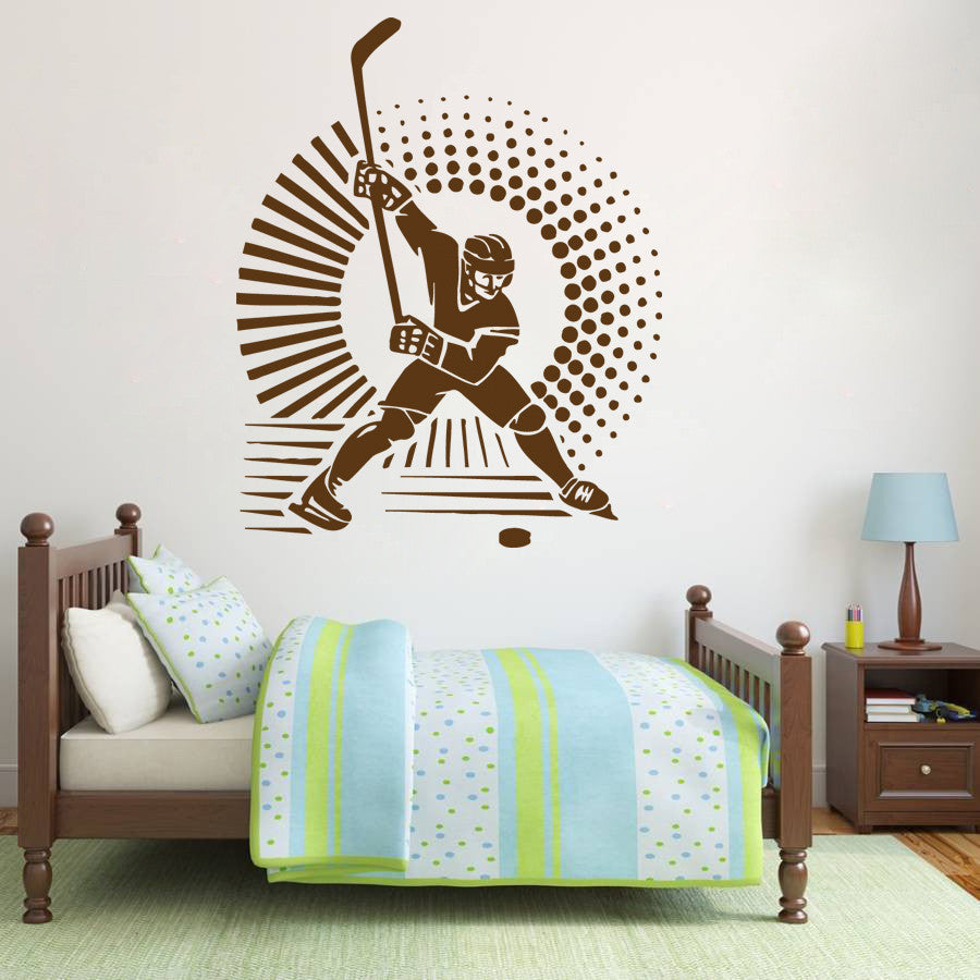 ik575 Wall Decal Sticker hockey stick puck rink sport team game kids bedroom