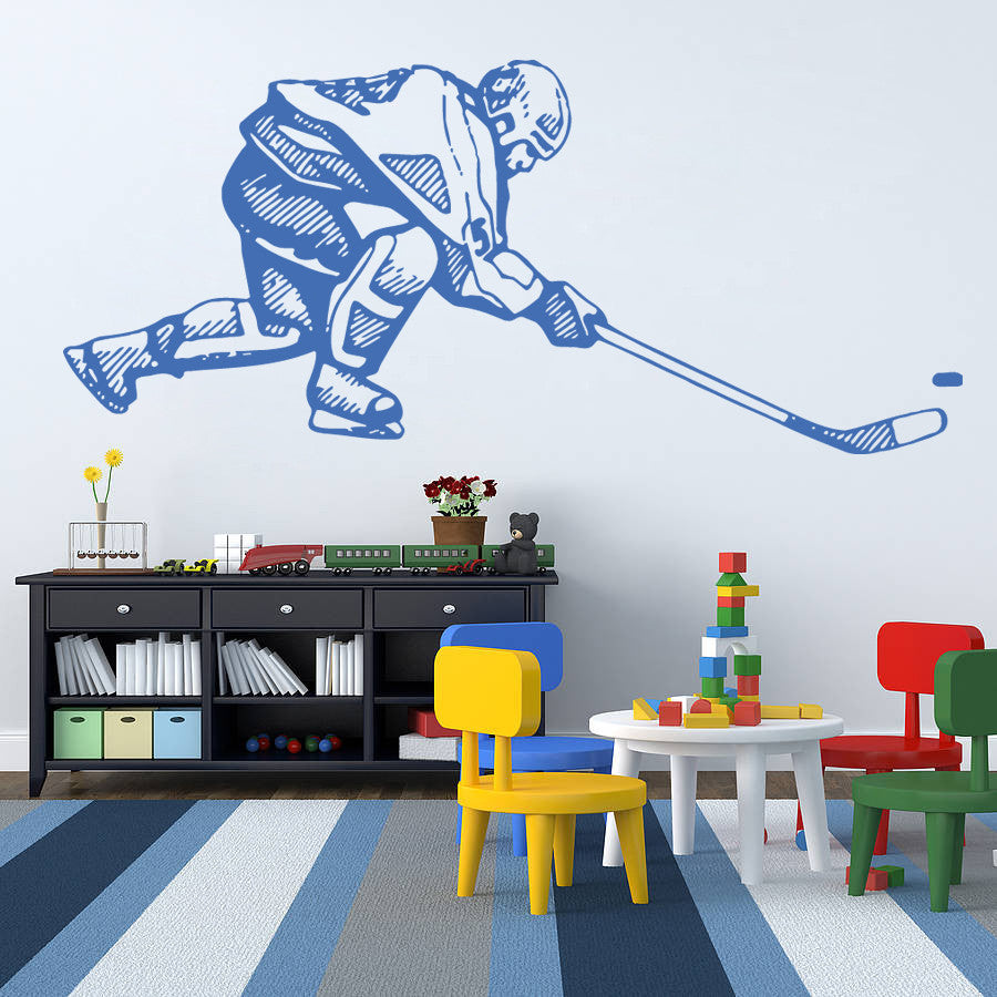 ik578 Wall Decal Sticker hockey stick puck rink sport team game kids bedroom