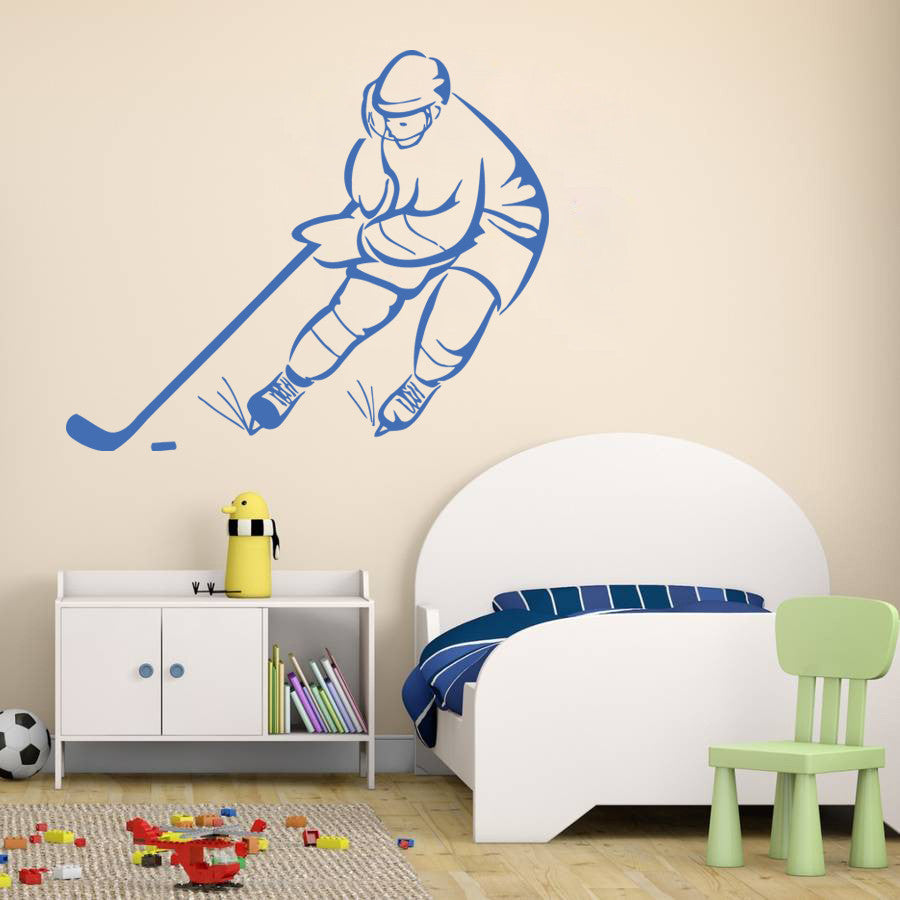 ik580 Wall Decal Sticker hockey stick puck rink sport team game kids bedroom
