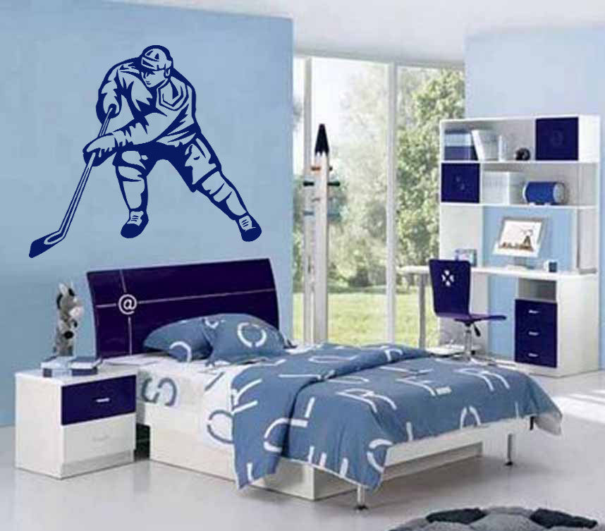 ik584 Wall Decal Sticker hockey stick puck rink sport team game kids bedroom