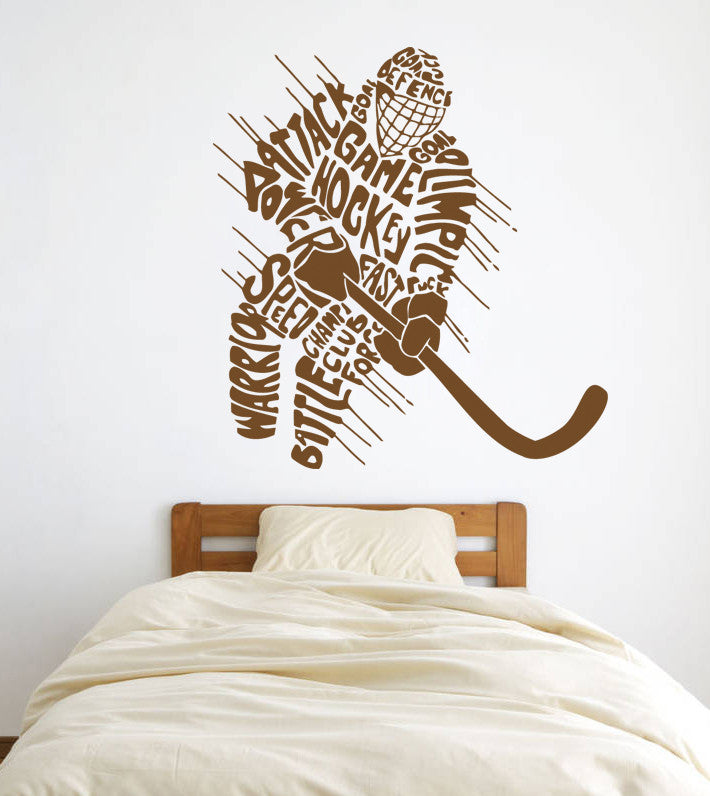 ik586 Wall Decal Sticker hockey stick puck rink sport team game kids bedroom