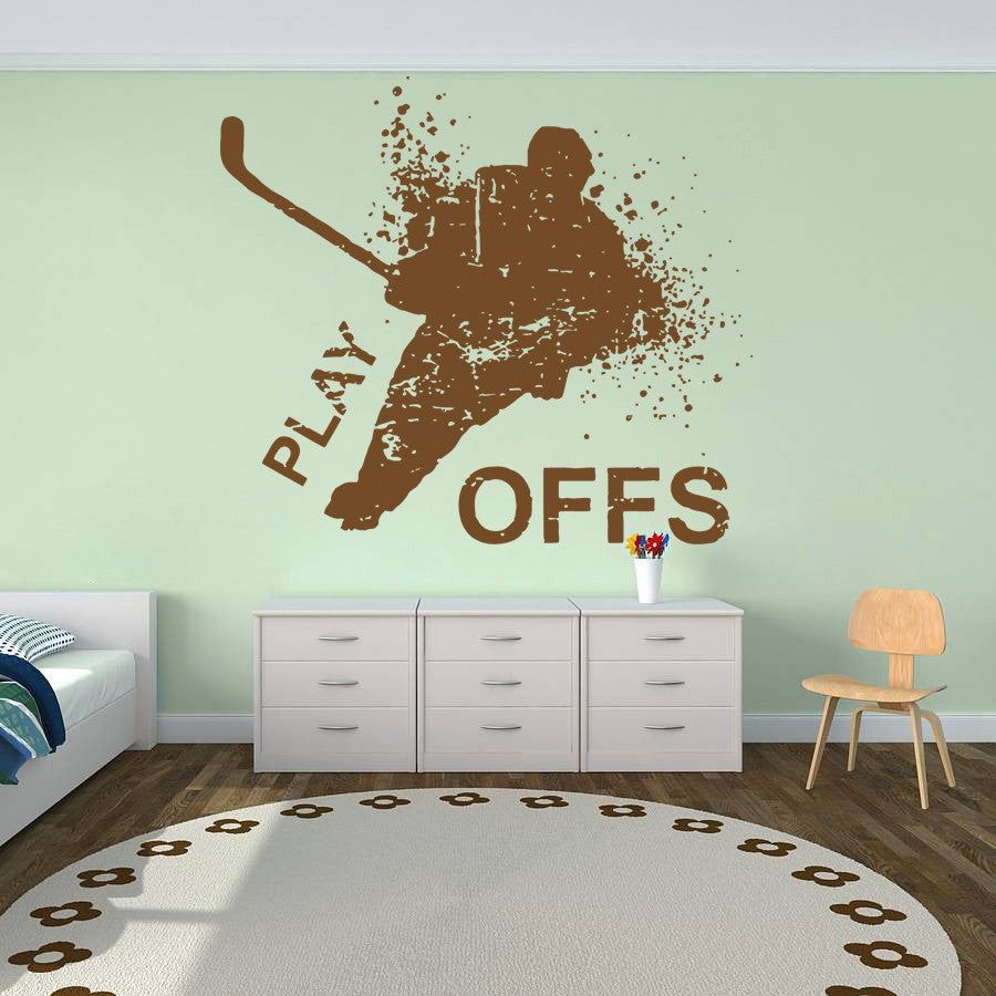 ik591 Wall Decal Sticker hockey stick puck rink sport team game kids bedroom