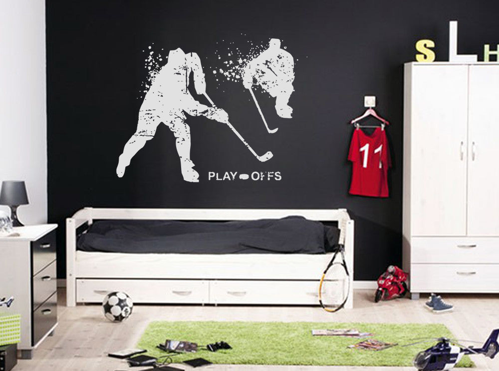 ik592 Wall Decal Sticker hockey stick puck rink sport team game kids bedroom