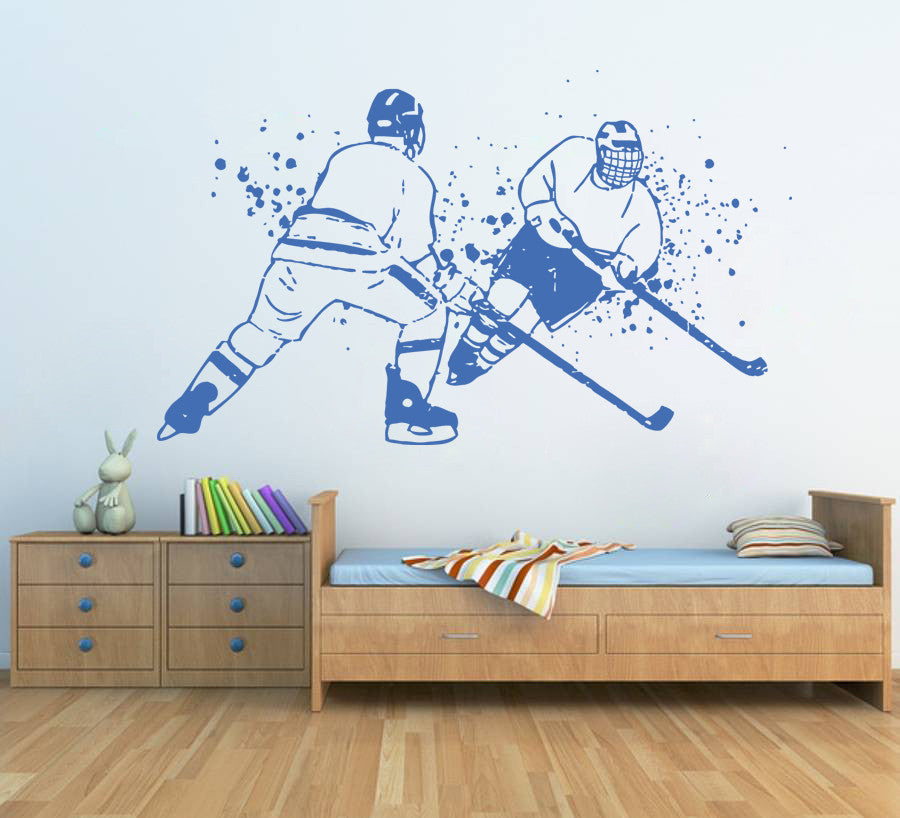 ik593 Wall Decal Sticker hockey stick puck rink sport team game kids bedroom
