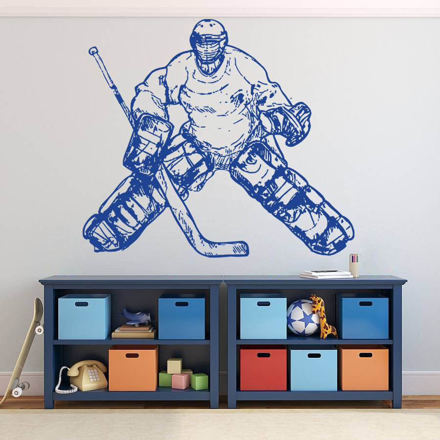 ik594 Wall Decal Sticker roller hockey stick goalie stick puck sport team game