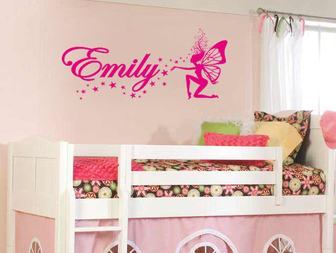 ik601 Wall Decal Personalized Name Fairy Custom Stars Magic Vinyl Sticker Decor