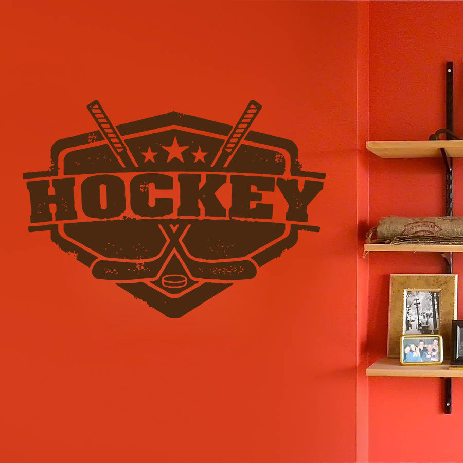 ik610 Wall Decal Sticker hockey stick puck emblem sport teen bedroom kids rink
